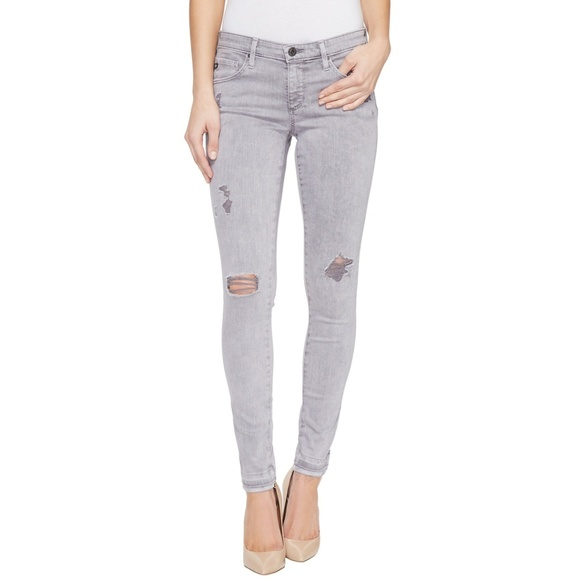 53f2a5f442b2a Ag Adriano Goldschmied Jeans | Ag Legging Ankle Gray Destroyed ...